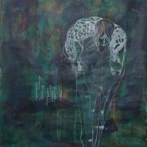Phoebe im Wald,Acryl auf Papier,130x100, 2017