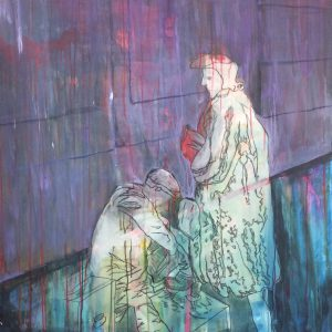 Strassenszene,Acryl auf Leinwand,140x110, 2017