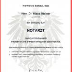 Dr. Steiner Notarzt Urkunde