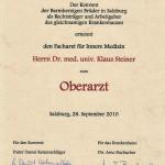 Dr. Steiner Oberarzt Urkunde